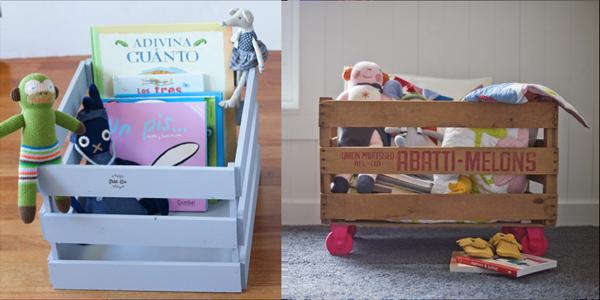 reciclar cajas de fruta para juguetes de niños