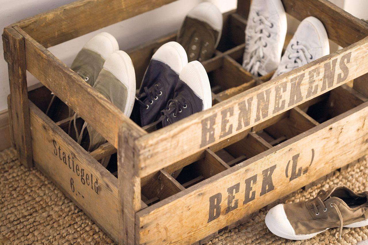 reciclar cajas de fruta para decoracion zapatero