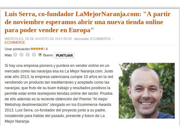 Entrevista a Luis Serra en Ecommerce News