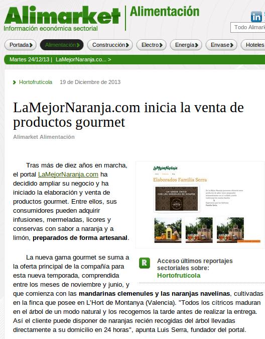 LaMejorNaranja en la web Alimarket