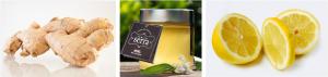 Ingredientes para preparar jarabe casero contra los síntomas del resfriado.: jengibre, miel y limón.