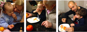 Paula, Pablo y Víctor, los peques de la casa, devorando las mandarinas de LaMejorNaranja